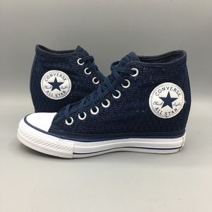 Converse lux mid dress blue wedge sneakers